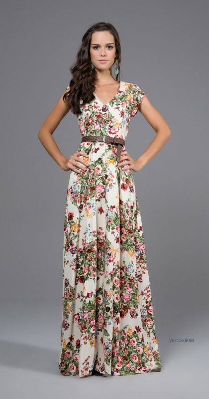 Floral. Colors. V neck. Modest dress! And oh-so-fab! The neckline elongates the neck, while the belt highlights the waistline and creates a flirty shape that's still modest!