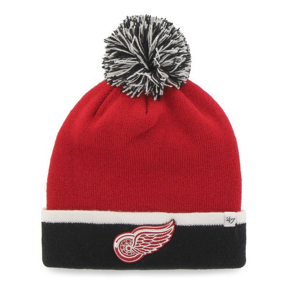 Detroit Red Wings 47 Brand Red Black Baraka Knit Cuffed Poofball Beanie Hat Cap