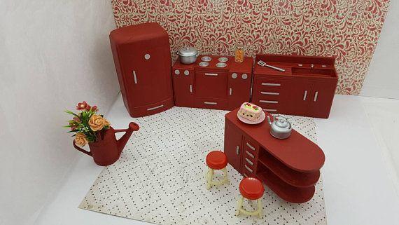 Plasco Kitchen Toy Dollhouse Traditional Style 1944 fridge Stove Sink Counter Stools Flamenco red  #RenwalToyDoll #KitchenAppliances #DollHouse #TinLithoHouse #MinimalScratch #dollhouse #miniature #StoveFridgeSink #ToyFurniture #DollFurniture #dollhouse#miniatures#dolls#vintagetoys#retro#midcentury#marx#renwal#minimalscratch#etsyseller