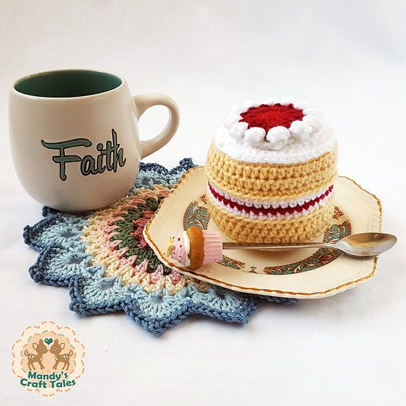 This crochet victoria sponge cake is the perfect pretend play item for your little girl.   Perfect for a kids gift.   Crochet Cake Crochet Victoria Sponge Cake Pretend Play Cake