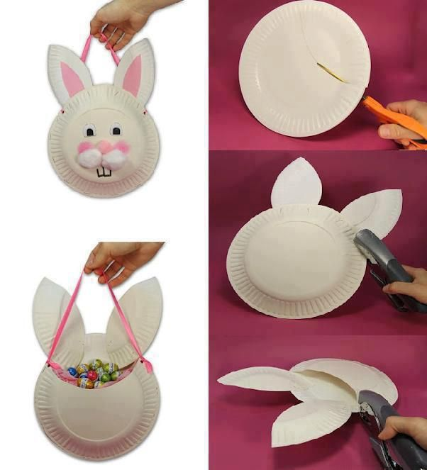 Bunny paper plate basket