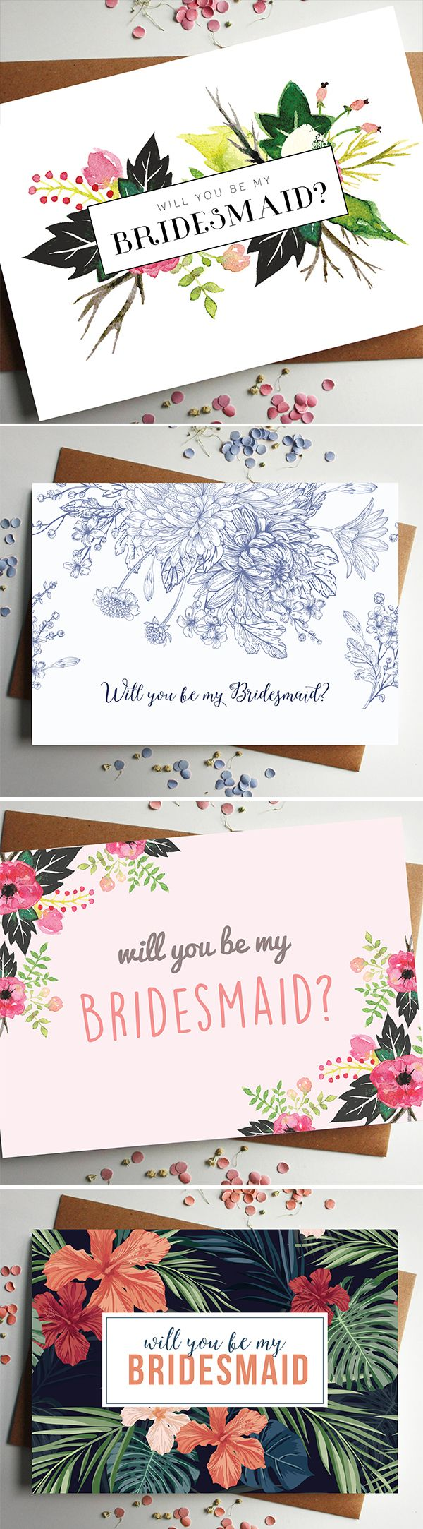 A beautiful floral 'will you be my bridesmaid?' card, perfect for asking your nearest and dearest to play a special role in your big day.  This card features illustrated flowers and two lovely typefaces for a friendly, personal feel and will bring a lovely smile to the face of the lucky person. Perfect for popping the big question to your best friends and it can even be kept as a little memento of the big day.   https://www.etsy.com/uk/listing/276488748/will-you-be-my-bridesmaid-card?ref=rel