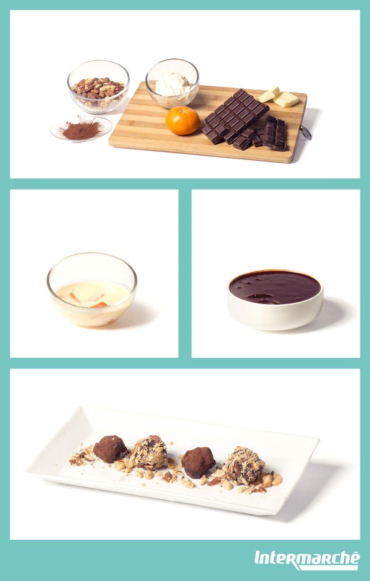 Notre #recette de truffes au chocolat et aux amandes. 1) Mettez la crème dans une casserole sur feu moyen.  2) Dès l'ébullition, jetez-y le beurre et les zestes de clémentines.  3) Versez la crème sur le chocolat et mélangez.  4) Ajoutez du sel. Couvrez votre saladier de film alimentaire pendant 2 heures.  5) Hachez les noix très finement. Préparez un bol avec le cacao en poudre.  6) Préparez un bol d'eau bouillante, puis à l'aide d'une cuillère à café formez de jolies truffes.