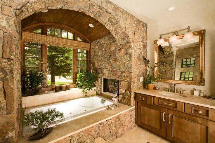 Badezimmer aus Stein und Holz  Ideen für ein spektakuläres Design #Rustikal #Eiche #Tischdeko #Modern #Wohnen