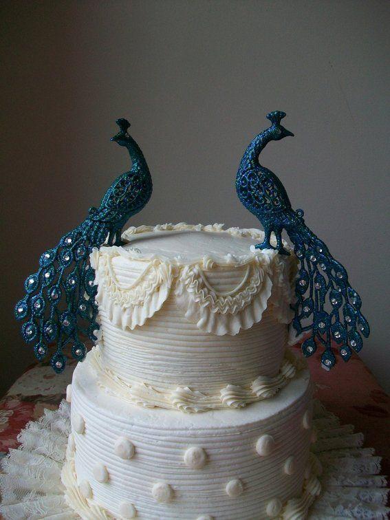 cake toppers peacock blue tean green art deco cake topper wedding cake .
