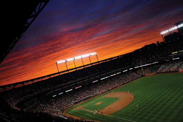 Sunsets at ballparks:    BALTIMORE, MARYLAND  -   The New York Yankees take on the Baltimore Orioles at Camden Yards on Sept. 2, 2016.