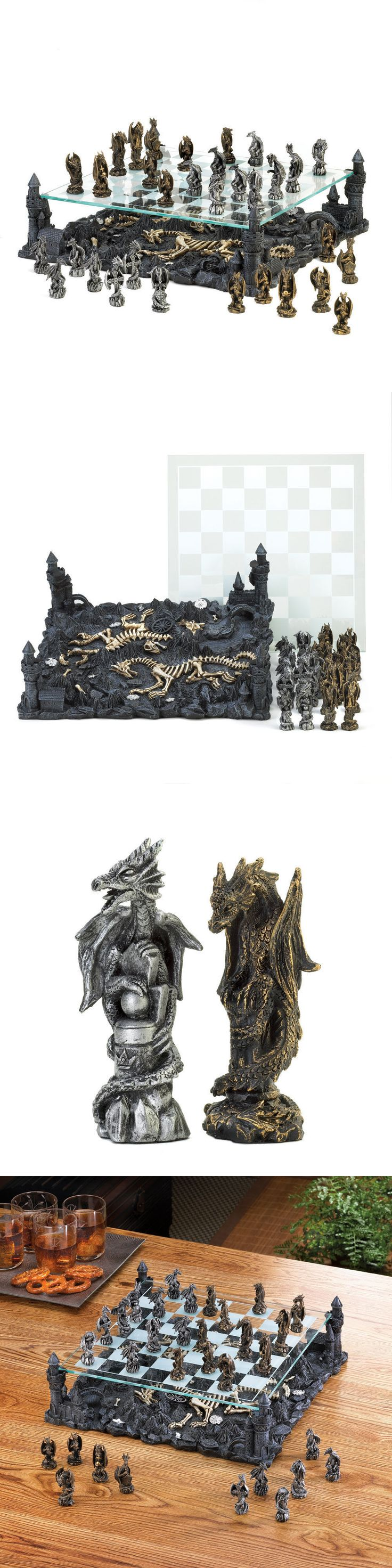 Contemporary Chess 40856: Black Dragon Chess Set Glass Board W Polyresin Base -> BUY IT NOW ONLY: $138.47 on eBay!