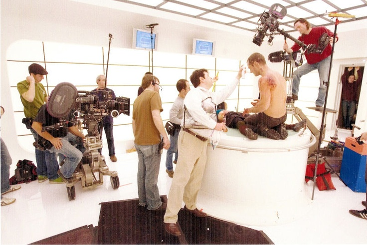 Jude Law on set of Lupo Man, with Donald Mowat on hand for make up.