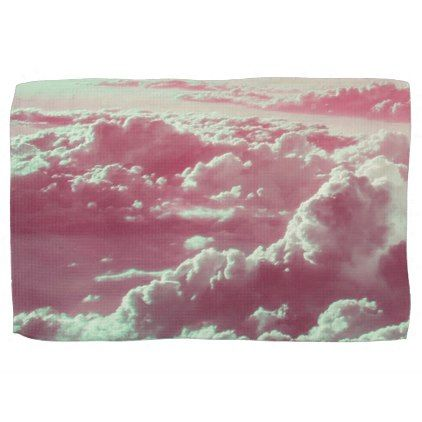 in the clouds pink hand towel