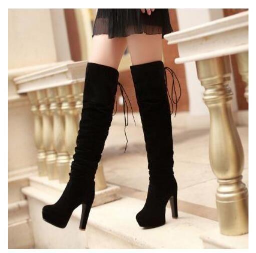 Women Faux Suede Platform Over The Knee Thigh Boot Nightclub High Heel Block