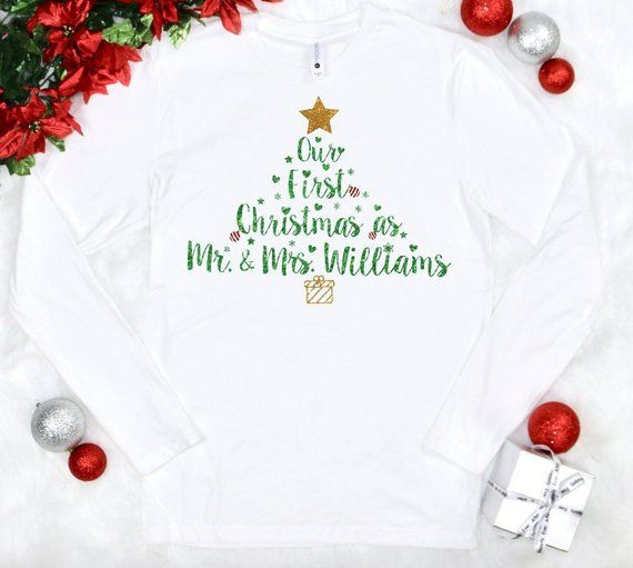 Matching 2-Pack Long Sleeve T-Shirt Set We Match Our First Christmas As Mr /& Mrs