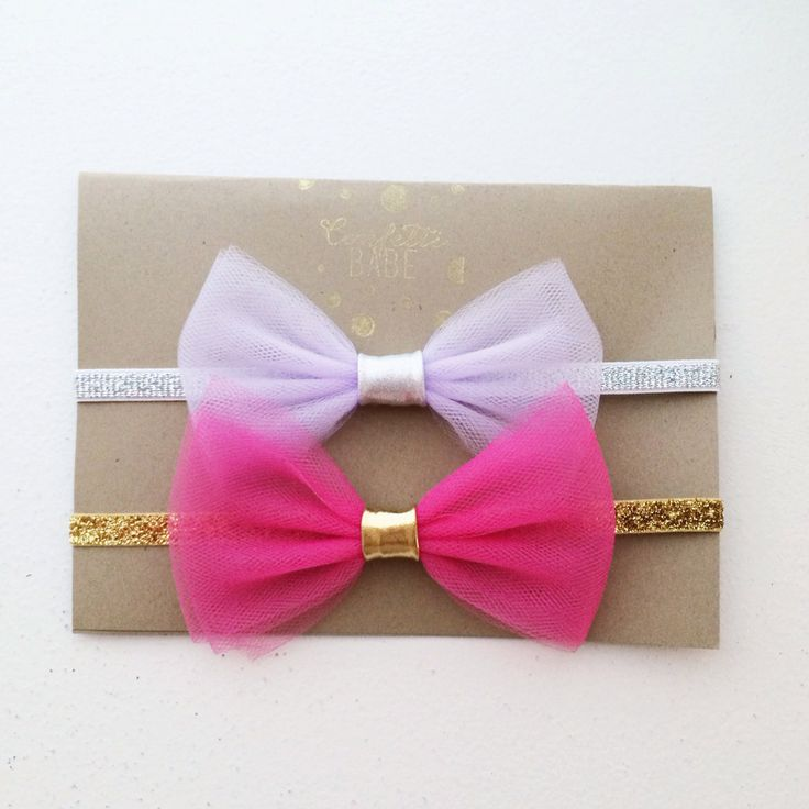 Set of 2 Jasmine Tulle Bow Headbands by ConfettiBabe on Etsy, $15.00