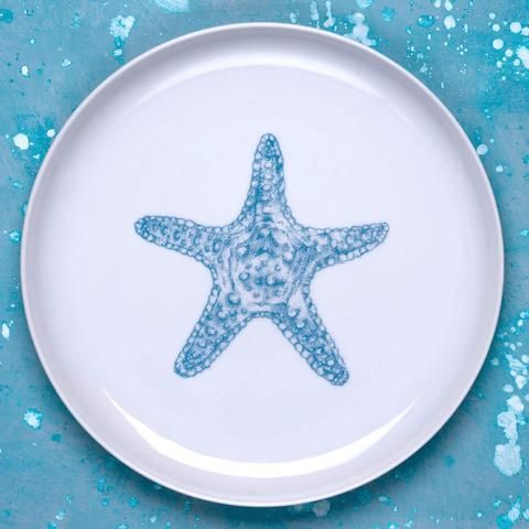 Porcelain dinner and dessert plate (both sizes available) with hand drawn original illustration of starfish in turquoise.