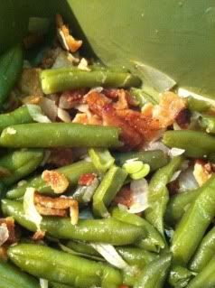 German Sweet and Sour Green Beans Roasted beans in oven 1st and poured warm sauce over top and serve:) bk