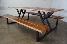 Custom Reclaimed Wood Rustic Modern Industrial Indoor / Outdoor Picnic Dining…