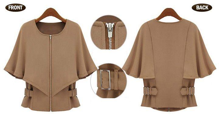 2013 Autumn  Europe Camel Черный Молния Shawl Короткий Рукав Coat for Женщины Крылья летучей мыши Caped Outwear O neck Jacket Plus Размер