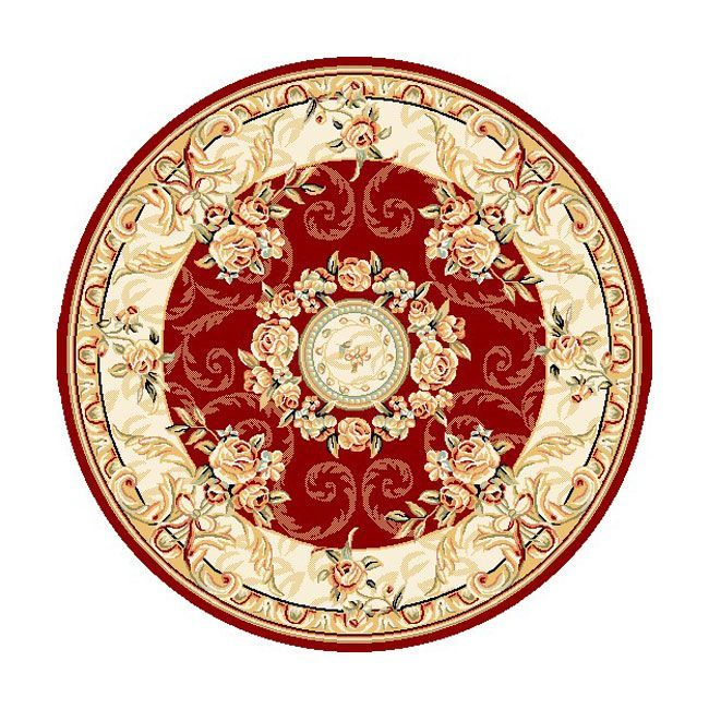 Safavieh Lyndhurst Collection Aubussons Red/ Ivory Rug (8 ft. Round)