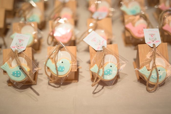 Wooden bird house party favor + bird cookie from a Little Bird Birthday Party via Kara's Party Ideas | KarasPartyIdeas.com (13)