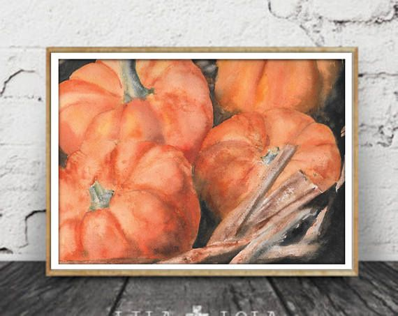 Cinnamon Pumpkins DIGITAL Fall Watercolor Painting  Autumn