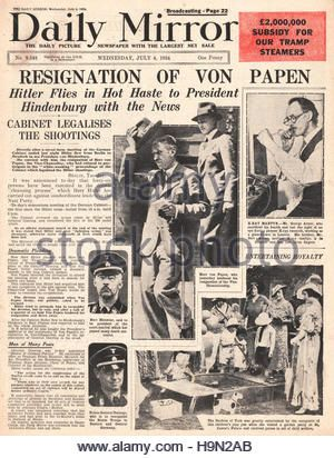 1934 Daily Mirror front page Resignation of German Vice Chancellor Franz von Papen - Stock Photo