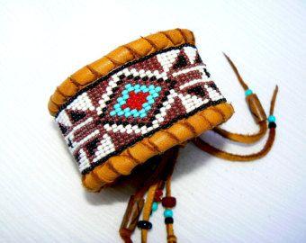 CUSTOM ORDER This - Native American Beaded Deerskin Cuff Bracelet, Geometric Arrow Design, Black, White Turquoise Red & Copper Beadwork OOAK