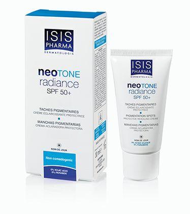 NeoTone. Solaire anti-taches SPF 50. Haute protection qui limite l'activation de la tyrosinase en limitant le flux de calcium.