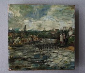 South Shields Cranes, across the river Tyne. Painted on location. Oil on board. 06/2007