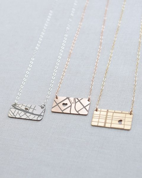 Map Necklace in Silver, Gold or Rose Gold by Olive Yew. Our little horizontal map necklace keeps that one special place close to your heart. My first engraved map necklace featured the place where my husband and I met & got engaged. Where's your special place?