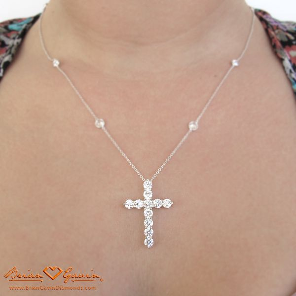 Must have!!! Ive been looking for the perfect cross pendant & chain - this Is it. CRM Neck Shot of Jen's Brian Gavin Custom Diamond Cross Pendant and DBTY Chain