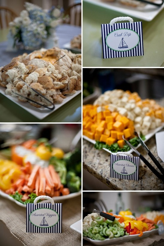 Nautical Themed Baby Shower in Navy & White: Food spread at a nautical themed baby shower