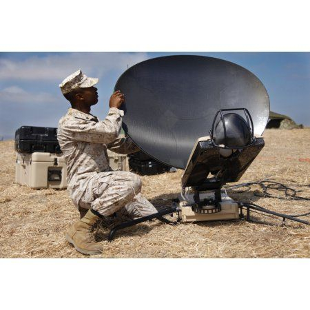 US Marine assembles a support wide area network satellite dish Canvas Art - Stocktrek Images (35 x 23)