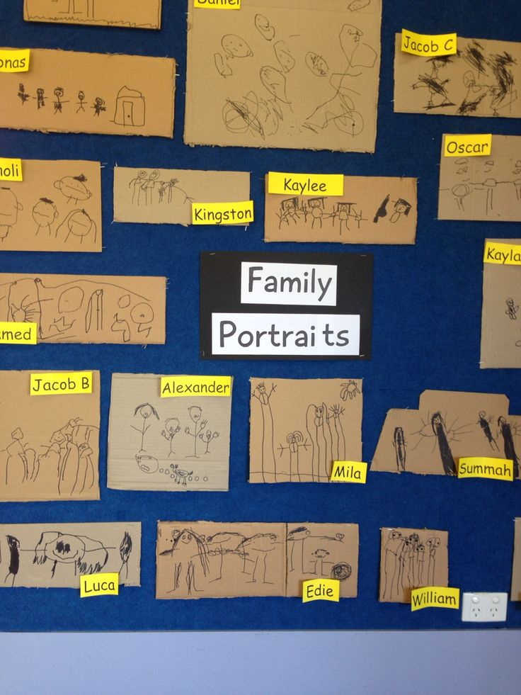 Familienporträts auf Recycling-Karte aus Kartons   – EYLF – belonging ideas