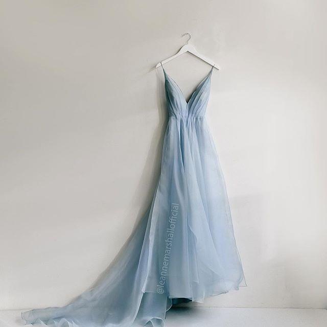 Light Blue Silk Organza Gown With Deep V Neckline Leanne