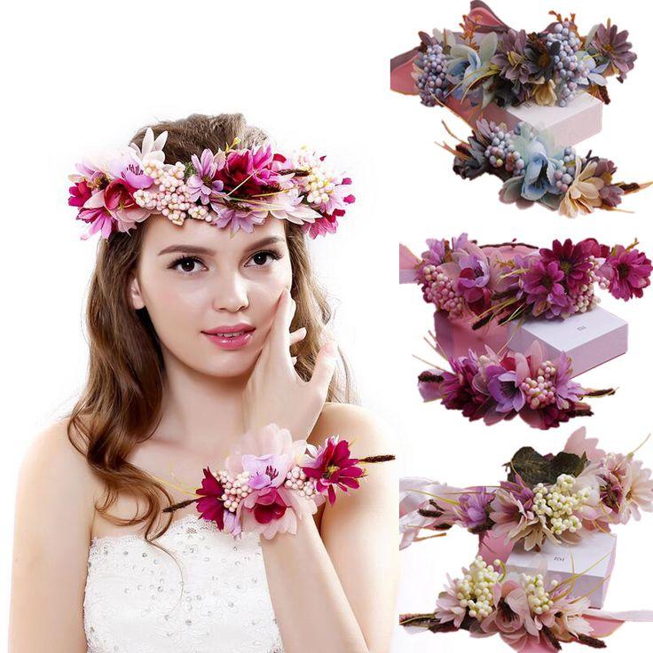 Snelle verzending Vrouwen Bruiloft haaraccessoires bridal bloemenkrans hoofdband & Pols Kids Party Bloem Kroon Koreaanse meisjes slingers