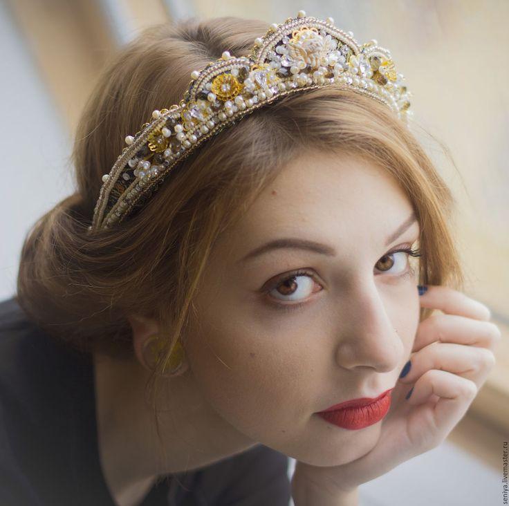 Купить Диадема-кокошник с ангелочком - золотой, диадема, диадема невесты, диадема для невесты, ободок корона