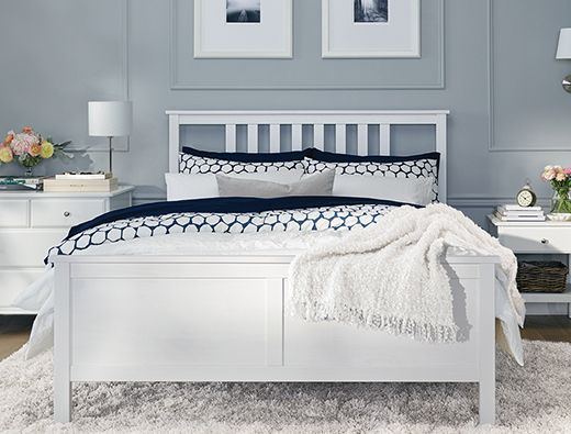 A bright bedroom with a HEMNES queen bed frame