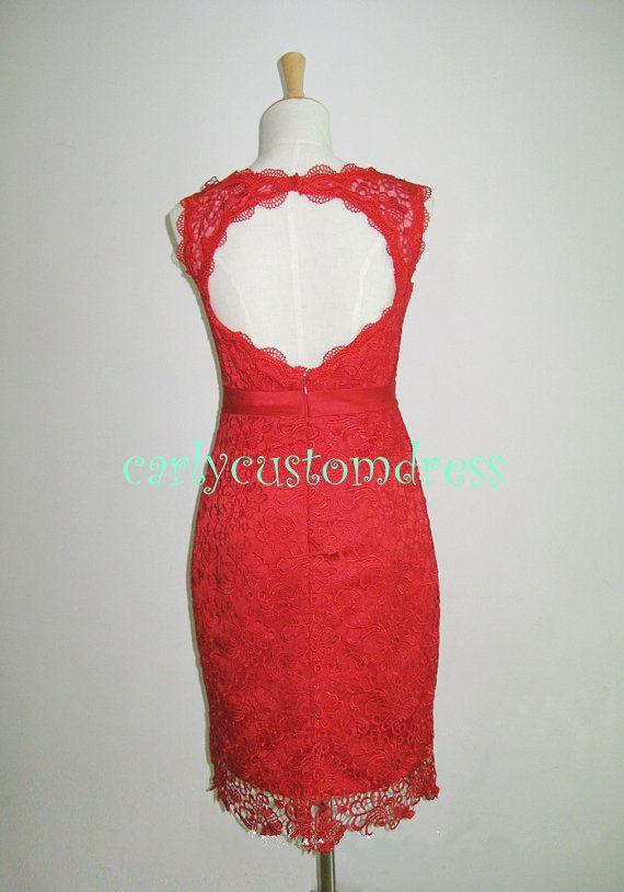 Short red lace bridesmaid dress blush black ivory white for Short red wedding dresses