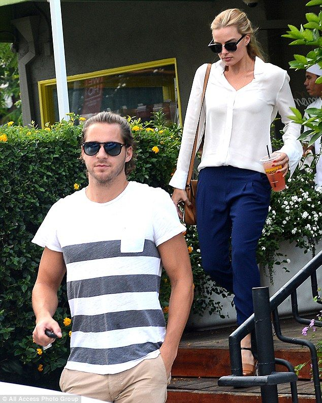 Tea for two: Margot Robbie enjoyed a lunch date with her boyfriend Tom Ackerley on Monday ...