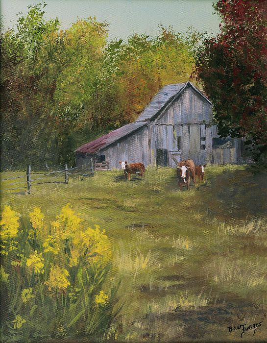 Looks just like my grandparent's farm, sweet memories.   ( I would call this 'when the cows come home')