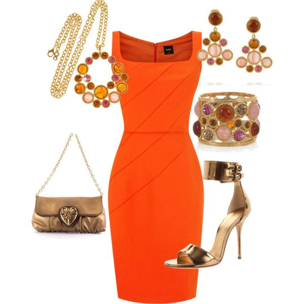 """orange sophistication"" by momfor2girls on Polyvore"