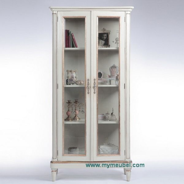 French Antique Style Glass Display Cabinet with 2 Doors