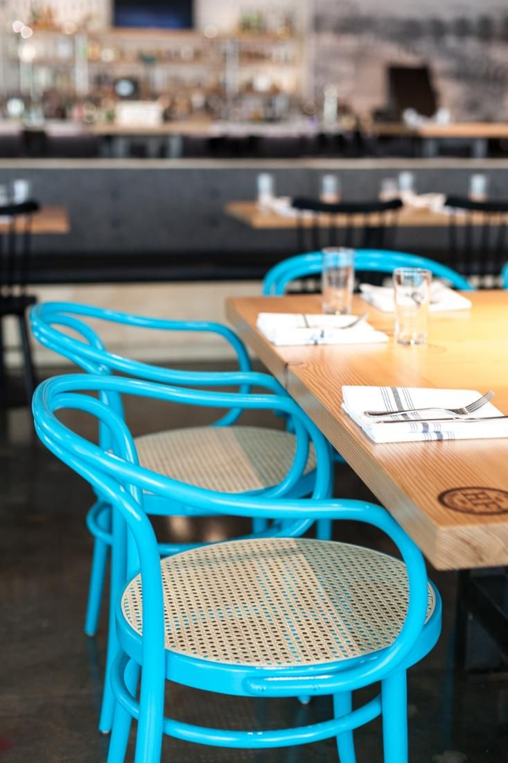 Turquoise Bentwood Chairs at Hock Farm Restaurant