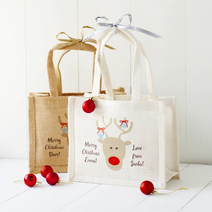 19 best burlap bags images on pinterest jute bags hessian bags jute personalised reindeer gift bags negle Image collections