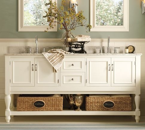 A lovely console for any bathroom, with Langford Faucet style, two Newport sink baskets, and hardware in antique bronze finish - $3,016.00