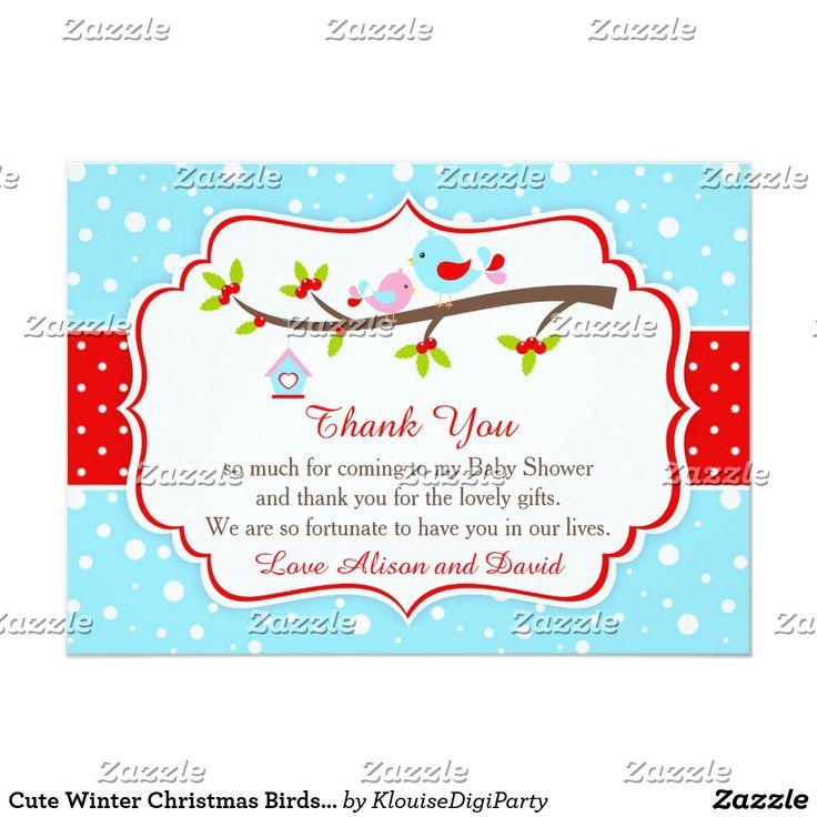 Cute Winter Christmas Birds Thank You Card