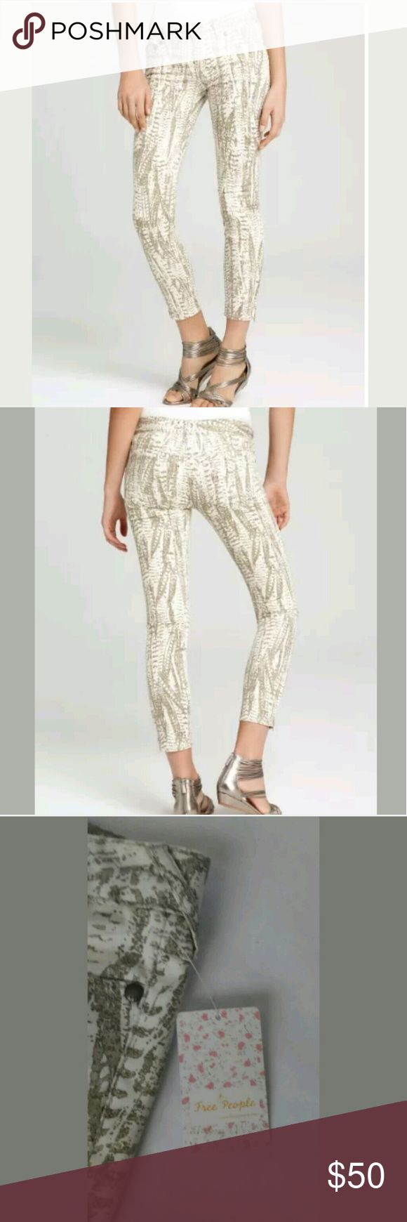 "NWT FREE PEOPLE Ankle Crop Printed Skinny Jeans Cream/Tan Denim Cropped Ankle   (ORIGINAL RETAIL was $88)  MEASUREMENTS and STYLE:  Size: Women's Size 29 Inseam: 26in. Waist (lying flat): 16in. Hip (lying flat) measured from bottom of zipper: 18in. Leg opening (lying flat): 5""  Color: Denim Cream/Tan  Print: Mixed/Feather-look (See Images)  Zipper on bottom of each pant leg  Model #: F790P057  New with original tags, never worn-BRAND NEW! Free People Jeans Ankle & Cropped"