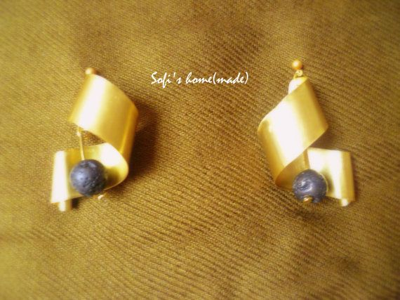 Handmade brass earrings with lava stones/ beads plus a free gift.