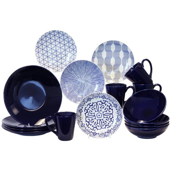 Create a chic tablescape for your next soiree with this elegant stoneware dinner set, featuring blue and white finishes.