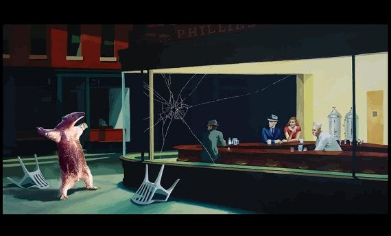 Hey, I found this really awesome Etsy listing at https://www.etsy.com/listing/226052316/banksy-canvas-nighthawks-anteater-banksy