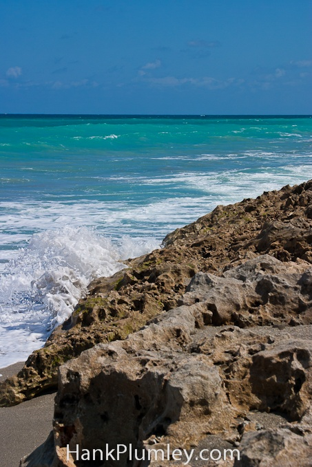 Waves crash on the rocky #beach at Blowing Rocks Preserve in Hobe Sound FL